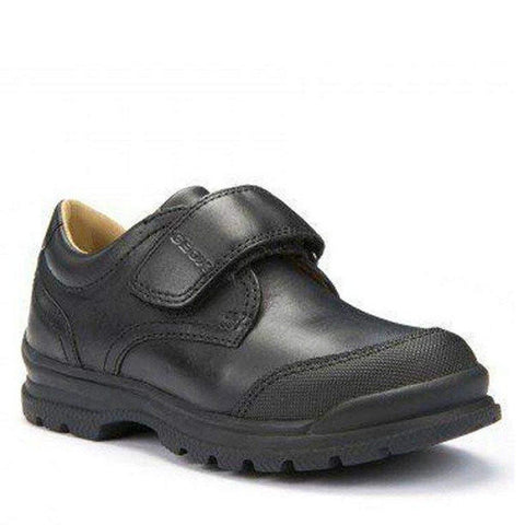 Boys Uniform Shoes - Geox J William Black Uniform Shoes (Toe Scuff Guard)