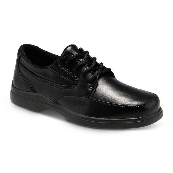 Hush Puppies TY Black Leather Uniform Shoes / Youth - ShoeKid Canada