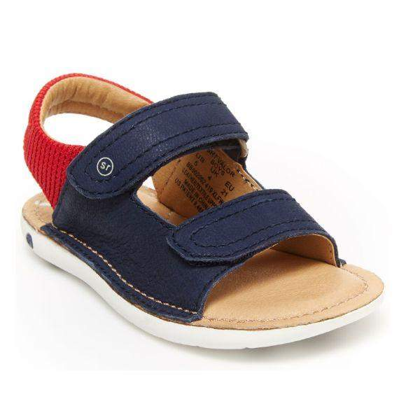 Stride Rite Valor Navy Red Toddler Leather Sandals - ShoeKid.ca