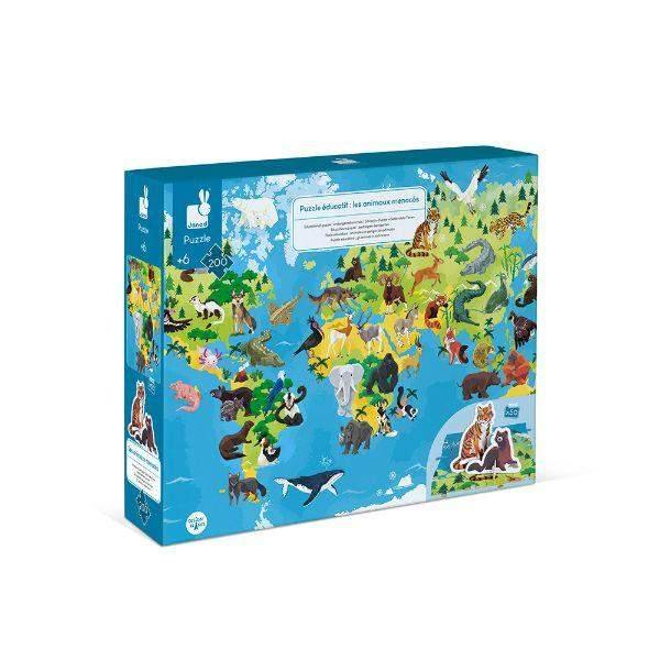 Janod 200pc 3D Endangered Animals Puzzle (6-12 Years Old)