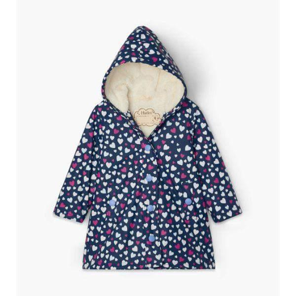 Hatley Hearts Sherpa Lined Colour Changing Rain Coat