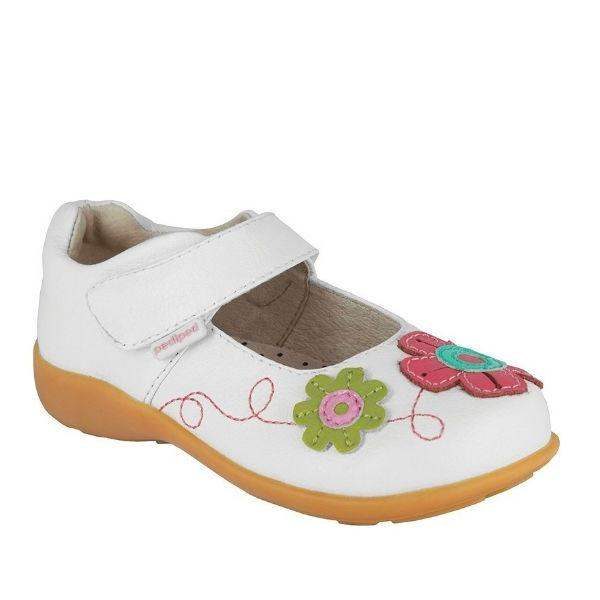Girls Casual Shoes - Pediped Sadie White Leather Toddler /  Little Kids /