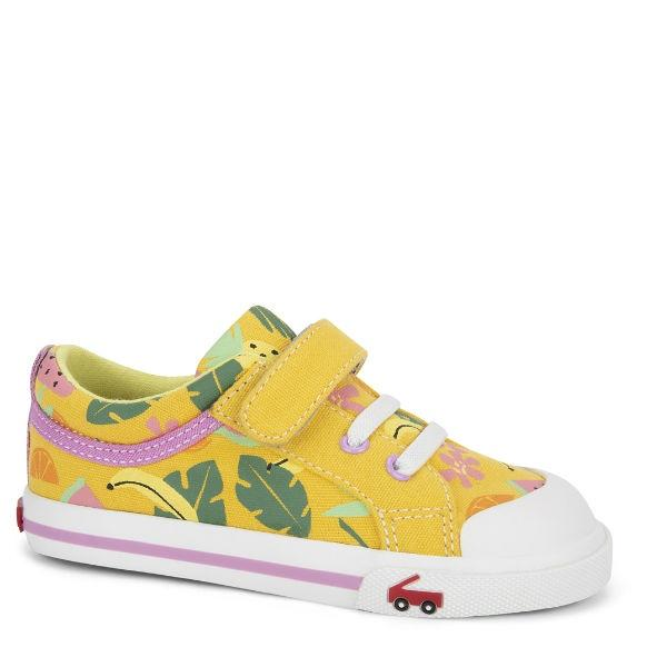 Girls Casual Shoes - See Kai Run - Kristin Sneakers For Kids, Yellow Tropical