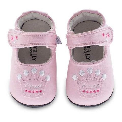 Girls First Walking Shoes - Jack & Lily OLIVIA Crown Pink