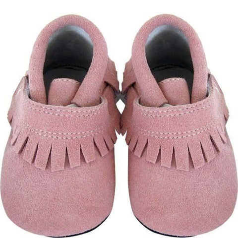 Girls First Walking Shoes - Jack & Lily SOFIA Fringe Pink Suede