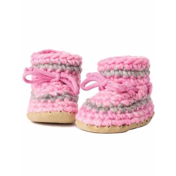 Padraig Baby Pink with Stripe / Infant / Toddler Slippers - ShoeKid.ca