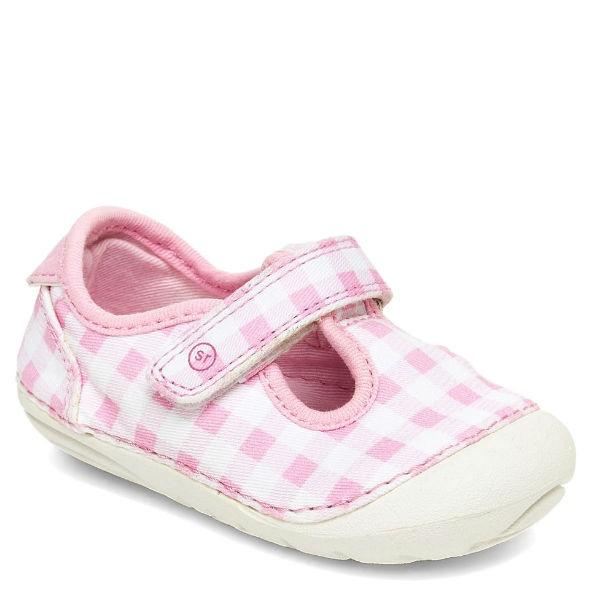 Girls First Walking Shoes - Stride Rite Hannah Pink Gingham Baby Toddler Shoes