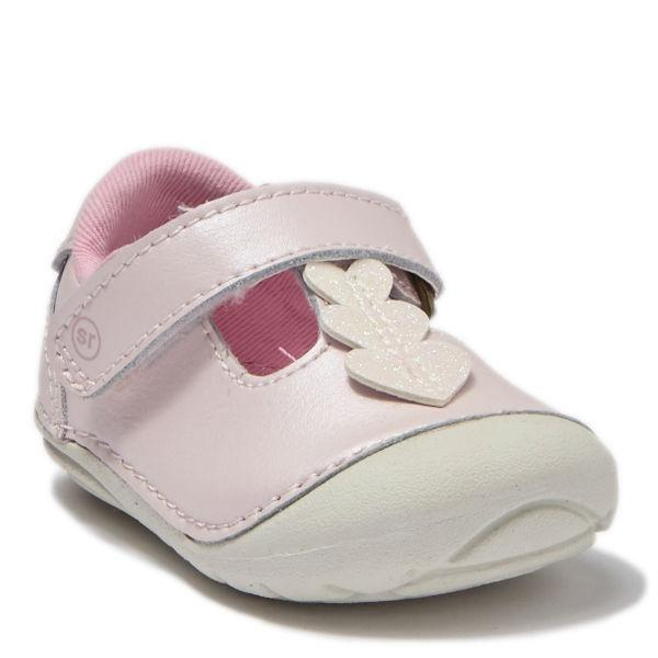 Girls First Walking Shoes - Stride Rite Lucia Pink Leather Baby Toddler Shoes