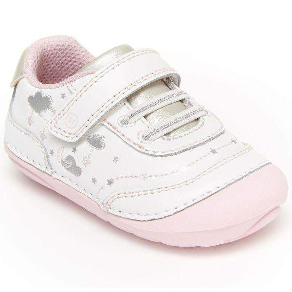 Girls First Walking Shoes - Stride Rite SRT ADALYN WHITE/PINK/SILVER Infant/Toddler