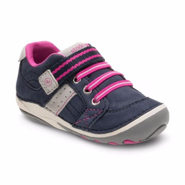 Stride Rite Artie Navy Pink Baby Girl Toddler Shoes (Early Walker) - ShoeKid.ca