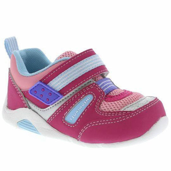 Girls First Walking Shoes - Tsukihoshi BABY02 Neko Infant/Toddler (Machine Washable) Fuchsia Blue
