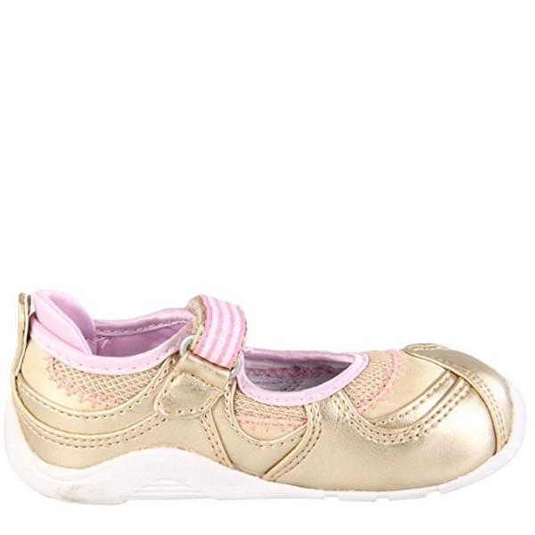Girls First Walking Shoes - Tsukihoshi BABY06 ARISA Infant/Toddler /Gold Pink / Machine Washable