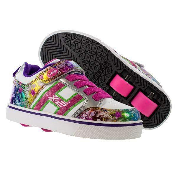Girls Heelys - Heelys BOLT PLUS X2 WHITE/SILVER/RAINBOW – Lightup!!