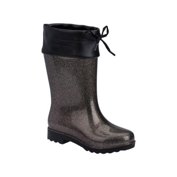 Girls Rain Boots - Mini Melissa Girls Black Glitter Rain Boots / Little Kids / Youth