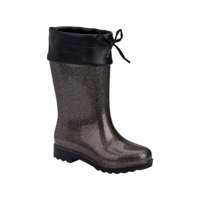 Mini Melissa Girls Black Glitter Rain Boots - ShoeKid Canada