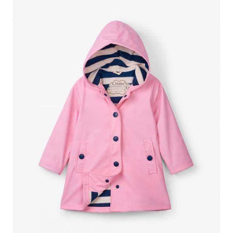 Girls Rain Coats - Hatley Classic Pink & Navy Splash Jacket