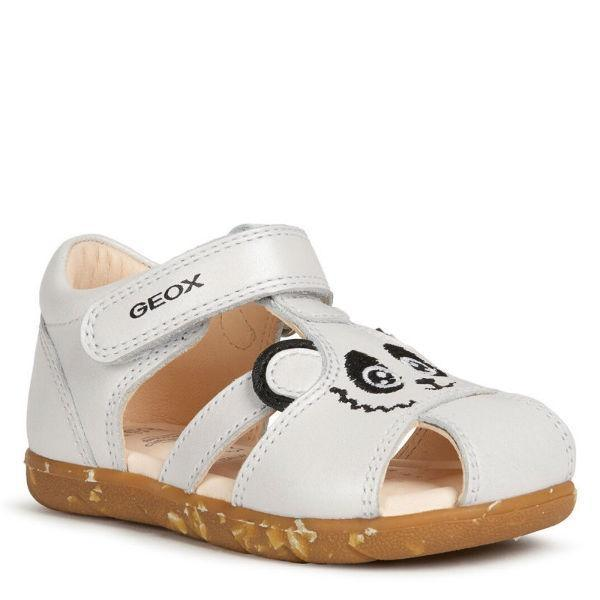 Girls Sandals - Geox Alul Toddler Girls White Leather Sandals