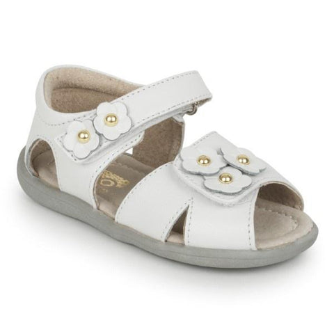 Girls Sandals - See Kai Run Olivia White Leather Sandals / Toddler