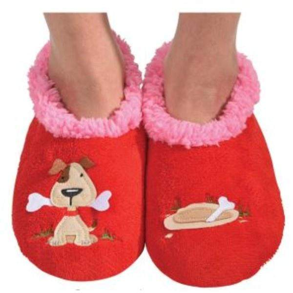 Girls Slippers - Snoozies Dog & Bone Indoor Slippers / Toddler / Little Kids