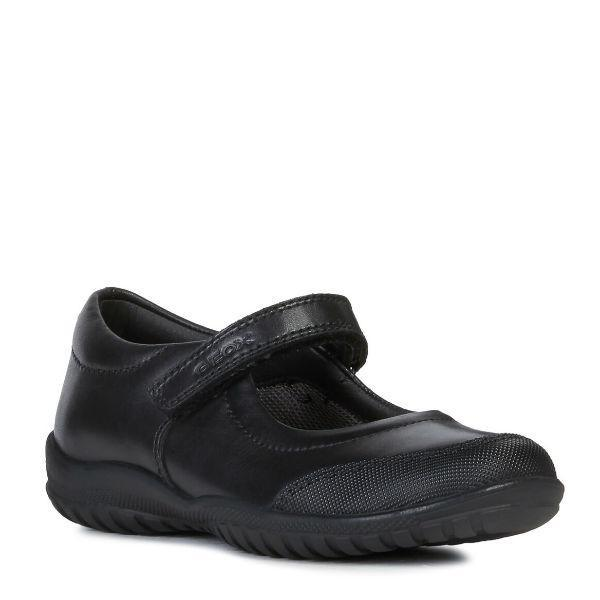 Girls Uniform Shoes - Geox Girl's Shadow Leather Uniform Shoes / Scuff Guard