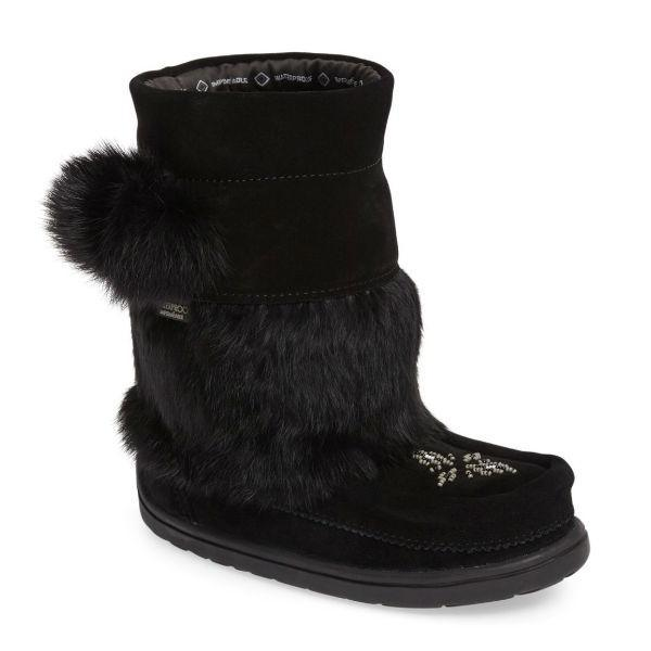 Manitobah Mukluks Waterproof Girls Winter Boots -32C / Black - ShoeKid Canada