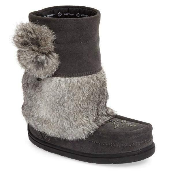 Manitobah Mukluks Waterproof Girls Winter Boots -32C / Gray - ShoeKid Canada