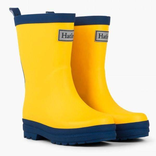 Hatley Yellow & Navy Kids Rain Boots - ShoeKid.ca