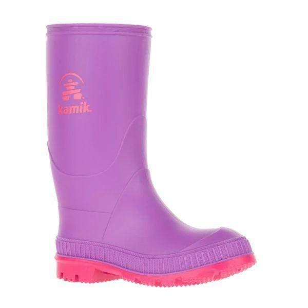 Kamik Kids' Stomp Purple Violet Girls Rain Boot (Made in Canada)