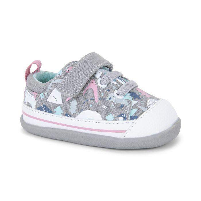 See Kai Run/Stevie II INF/Gray Snowscape/Girls First Walking Shoes
