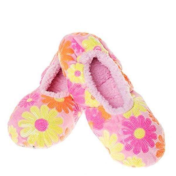 Snoozies Pink Daisy Indoor Slippers / Big Kids / Youth - ShoeKid Canada