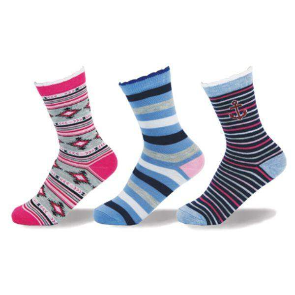 Point Zero Trendy Stripe Kids Socks (3 Pairs) - ShoeKid.ca