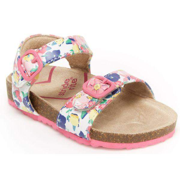 Stride Rite Zuly Floral Girls Toddler Dress Sandals Faux Buckle (Arch Support) - ShoeKid.ca
