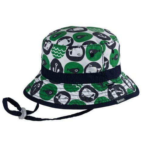 Sunhats - BABY BOYS BUCKET SUNHAT WHALEY CLOVER / 50+ UPF
