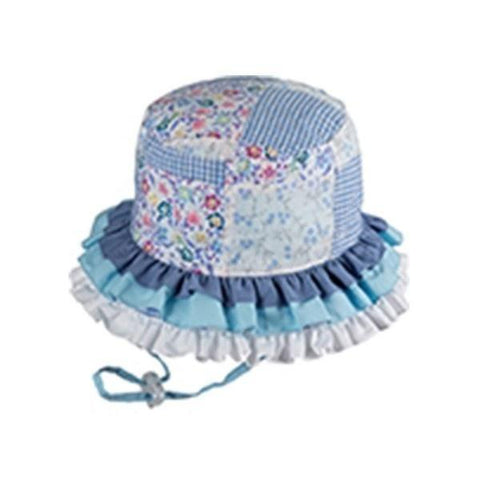 Sunhats - BABY GIRLS BUCKET RAH RAH BLUE SUNHAT / UPF50+ UV Rating