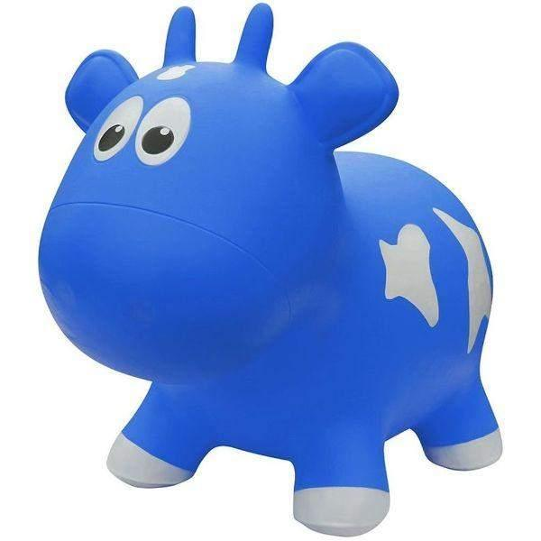 Toys - Farm Hoppers  Inflatable Bouncing  Blue Cow With Pump