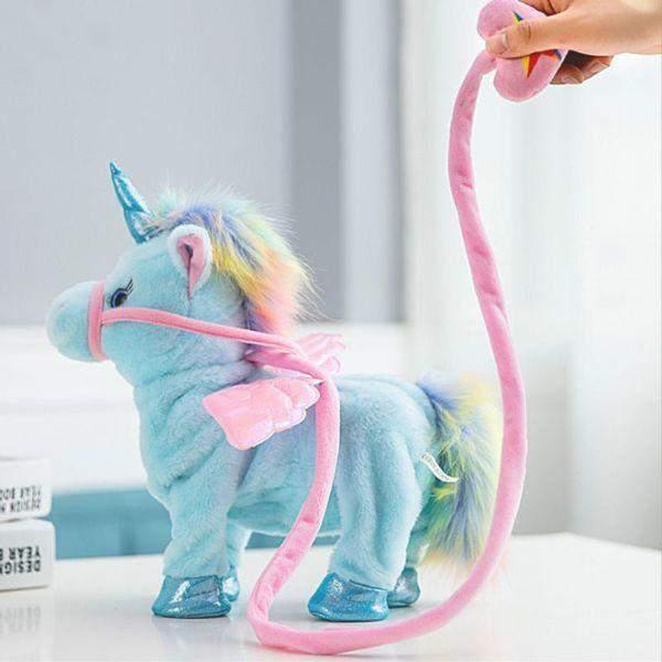 Electronic Walking Dancing Singing Unicorn Plush Toy / Blue