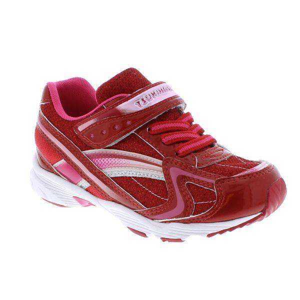 Tsukihoshi Glitz Red Pink Girls Running Shoes (Machine Washable) - ShoeKid.ca