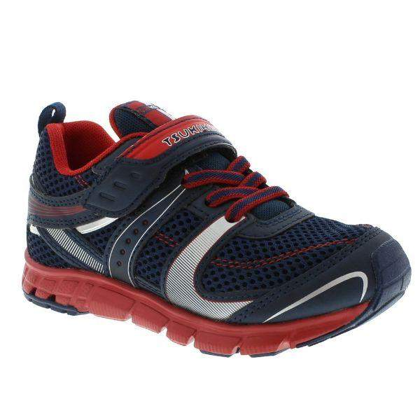Tsukihoshi Velocity Navy Red Boys Running Shoes (Machine Washable)