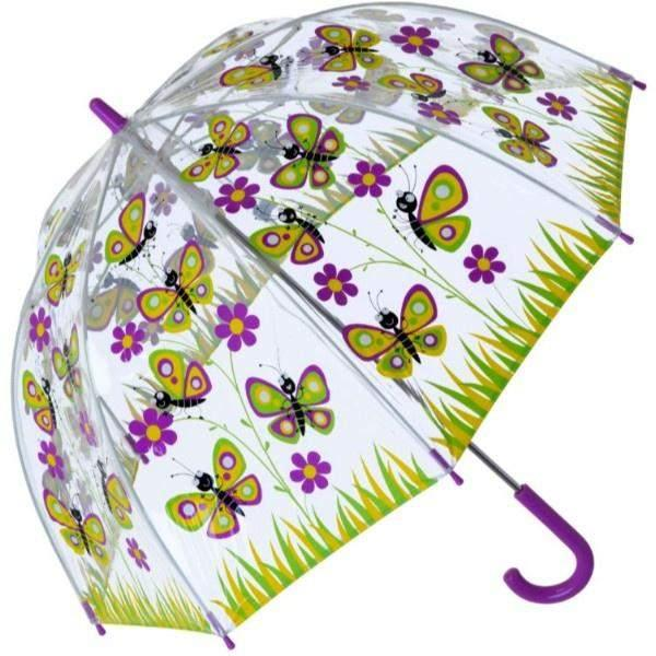 Bugzz Clear Dome Birdcage Kids Umbrella / Butterfly - ShoeKid Canada