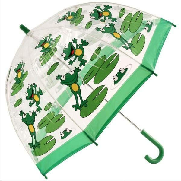 Bugzz Clear Dome Birdcage Kids Umbrella / Frog - ShoeKid Canada