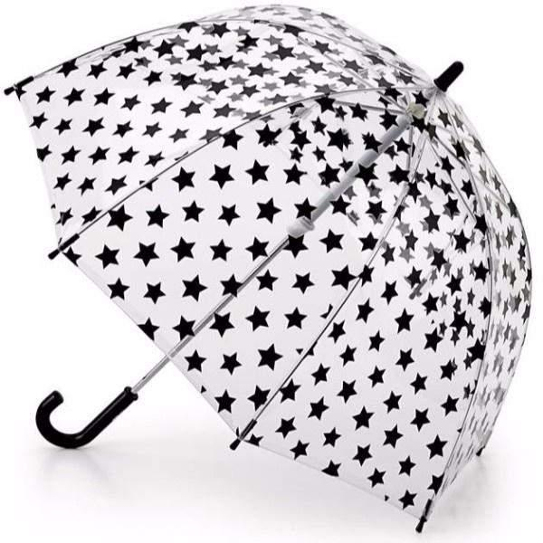 Fulton Clear Kids Umbrella Black Stars - ShoeKid Canada