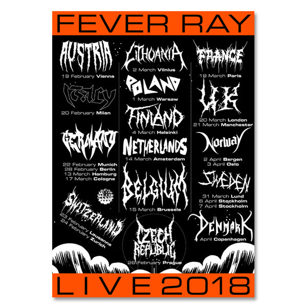FEVER RAY LIVE 2018 TOUR POSTER (A2)