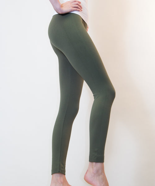 Solid Fleece Thermal Leggings - New Colors!