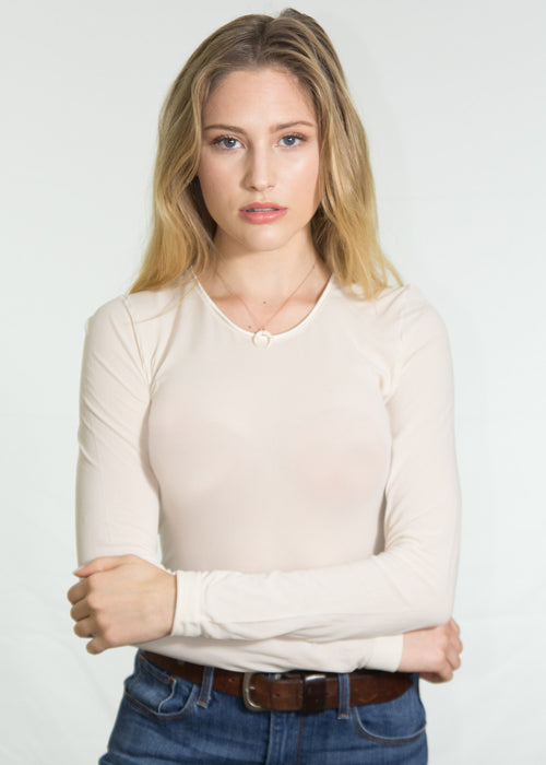 Luna Crew Neck Sheer Top
