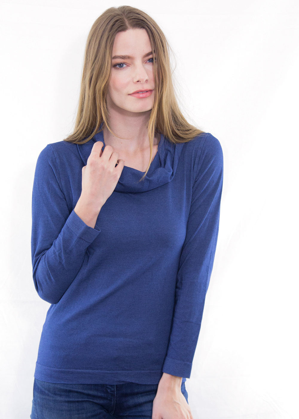 Denim Blend Turtleneck Top