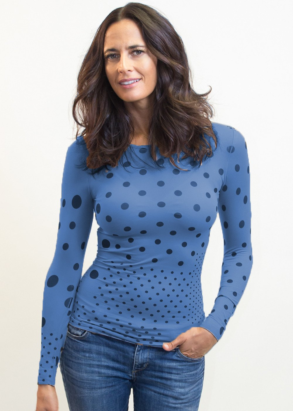 Polka Dots Crew Neck Top