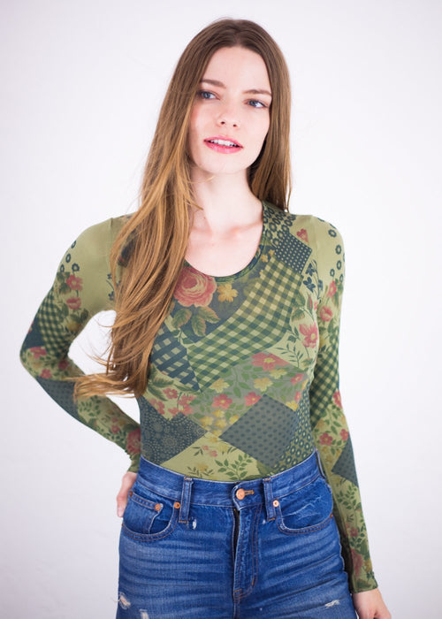 French Patchwork Crew Neck Top