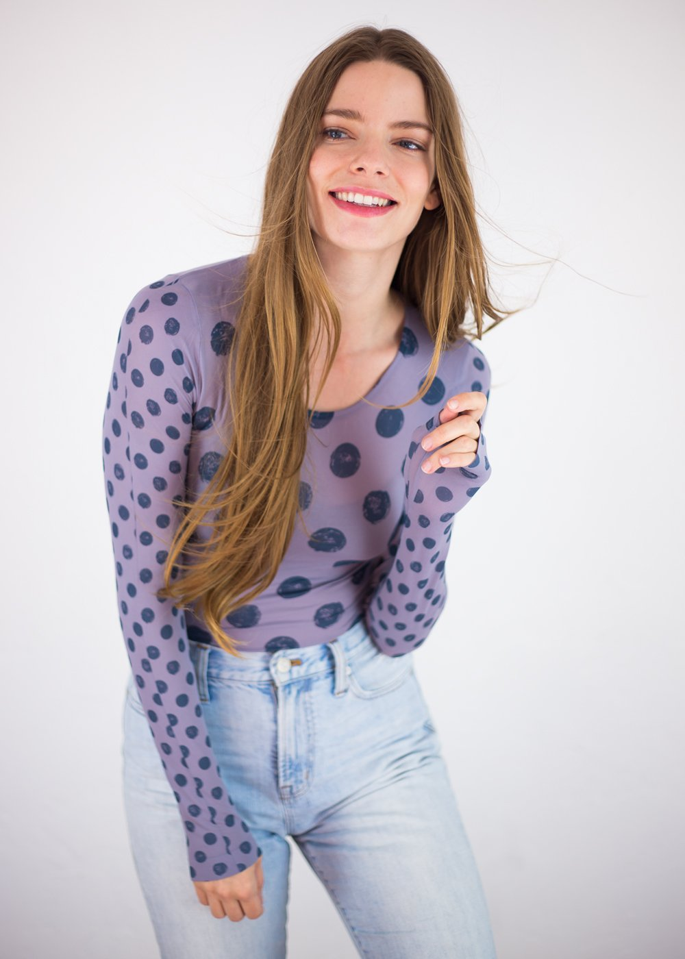 Grunge Polka Dot Crew Neck Top- New Colors!