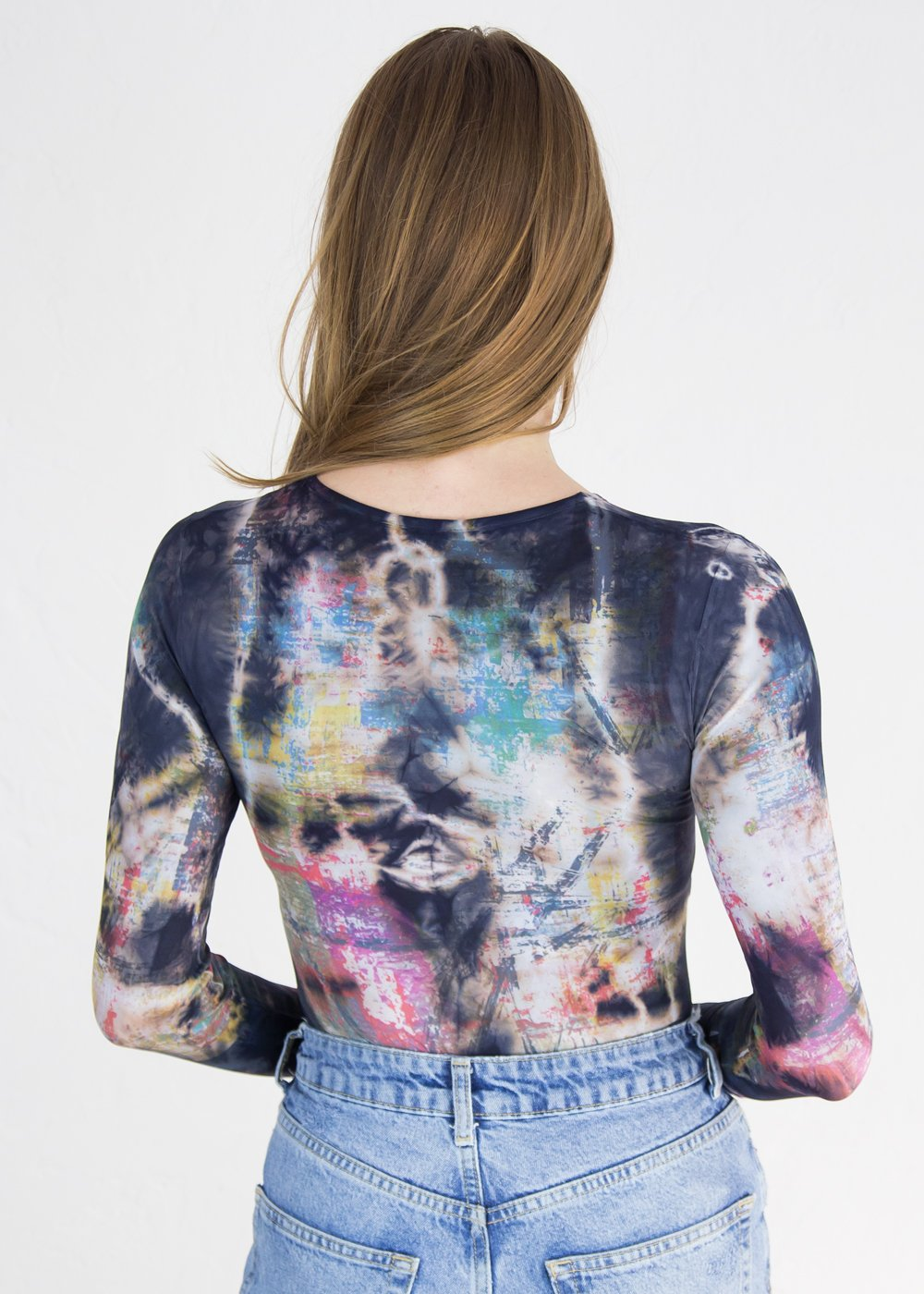 Mixed Media Crew Neck Top