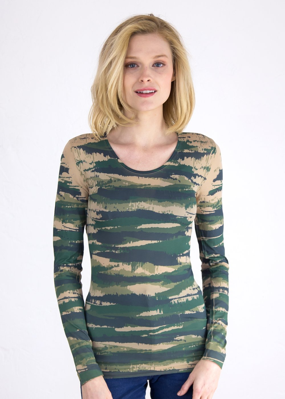 Abstract Camo in Green Crew Neck Top